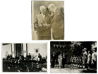 Clockwise: President Harry Truman and Dr. Chaim Weizmann, Washington DC, May 25, 1948; Chaim and Vera Weizmann welcomed at the Tel Aviv Municipality in October 1948; Chaim Weizmann sworn in as the first President of Israel at the Knesset, February 17, 1949.