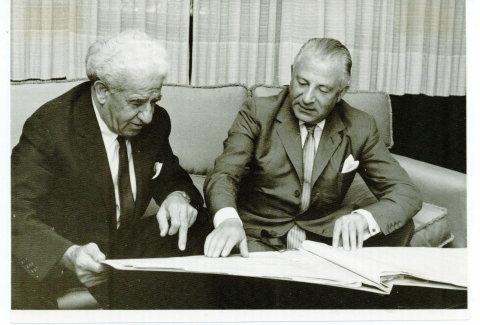 (L-R) Meyer Weisgal and Sir Charles Clore review plans for the Charles Clore International House