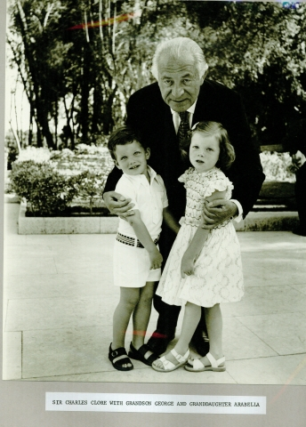 Sir Charles Clore with grandchildren George and Arabella