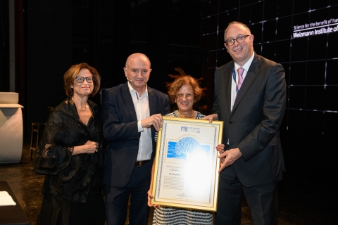 L to R: Susan Stern, Executive Director and CEO of Weizmann Canada, Prof. Daniel Zajfman, and Cathy and Anthony Beck