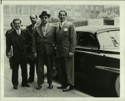 Dewey Stone (at left) with Dr. Chaim Weizmann (center) and Victor Potamkin, who brought Dr. Weizmann the Lincoln car