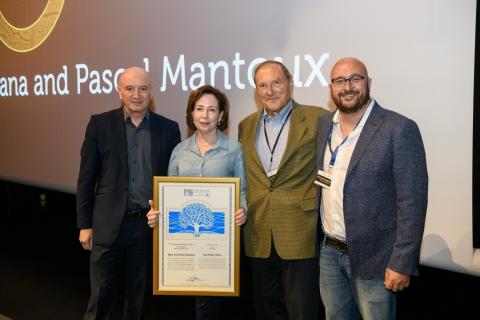 L to R: Prof. Daniel Zajfman, Ilana and Pascal Mantoux, Prof. Yaqub Hanna