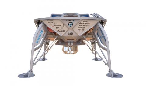 A rendering of SpaceIL's Beresheet spacecraft. Credit: SpaceIL