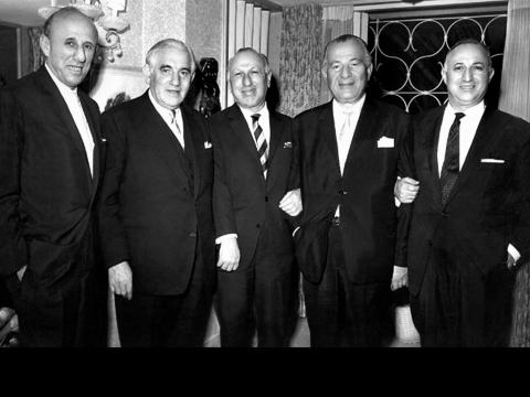 L to R: Mordechai Mayer, Sir Isaac Wolfson, Benjamin Mayer, Sr Charles Clore, Moshe Mayer