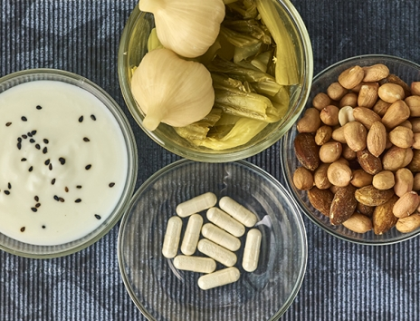 Probiotic pills and yogurt