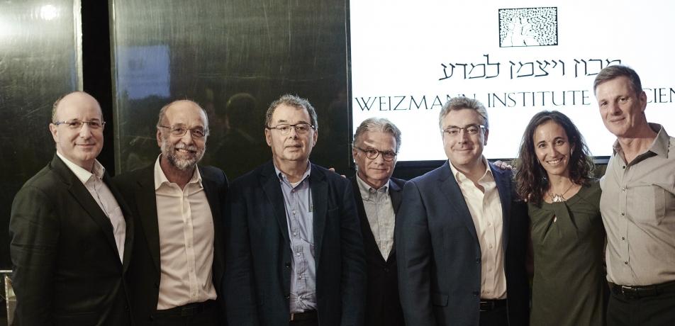 L-R: Marcos Lederman; Prof. Israel Bar-Joseph; Luis Stuhlberger; Mario Fleck; Dany Schmit; Dr. Ruth Scherz- Shouval; and Luis Terepins.
