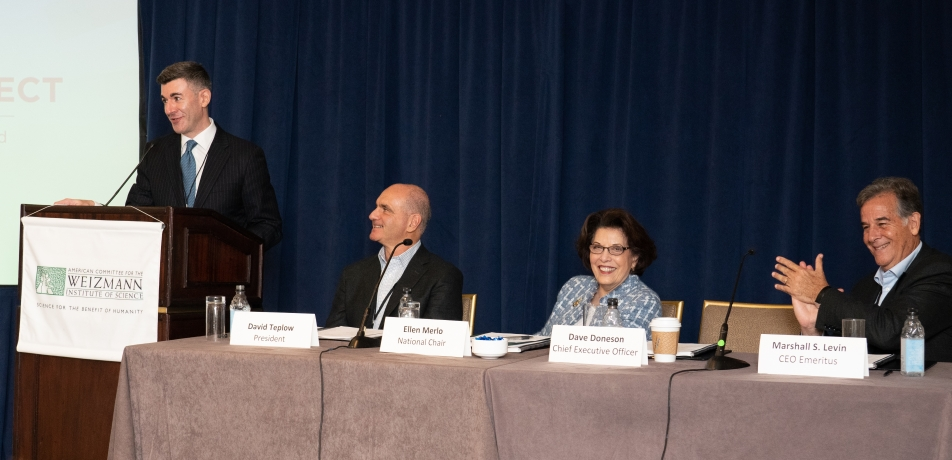 (L-R) American Committee CEO Dave Doneson, President David Teplow, National Chair Ellen Merlo, and CEO Emeritus Marshall S. Levin.