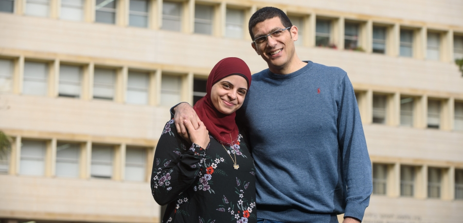 "Eman Khatib-Massalha and her husband Dr. Hassan Massalha. ""The things you get at Weizmann, you will not get anywhere else in Israel,"" says Eman."