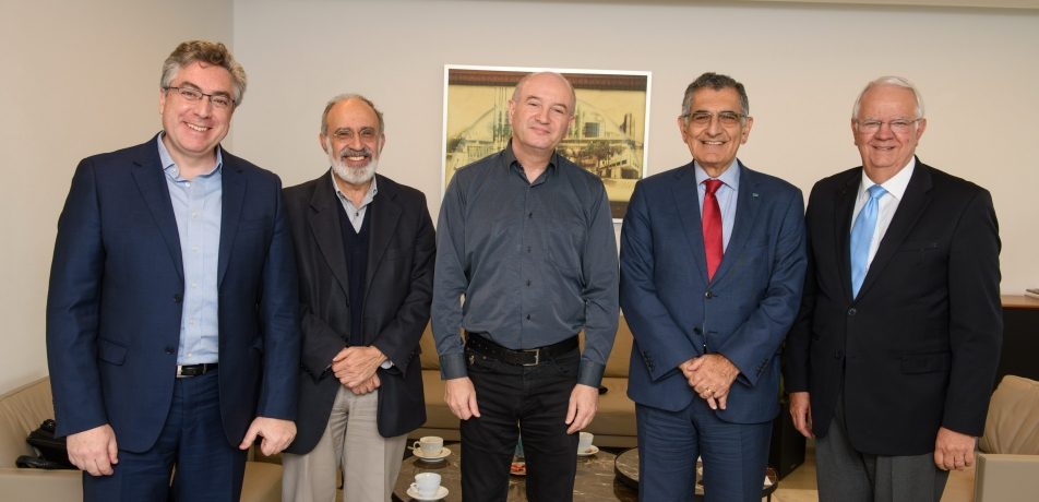 L to R: Dany Schmit, CEO of the Weizmann Institute for Latin America; Prof. Guilherme Ary Plonski; Prof. Daniel Zajfman, President of the Weizmann Institute; Prof. Vahan Agopyan, President of the University of São Paulo (USP) and the Provost for International Cooperation of USP, Prof. Raul Machado Neto