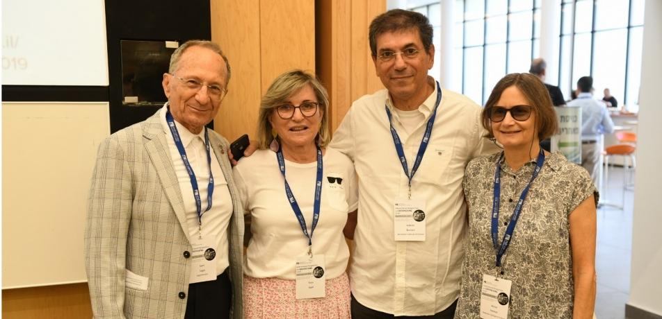 L-R: Sami Sagol, Tova Sagol, Prof. Gabi Barabash, head of the Bench-to-Bedside Program, and Prof. Michal Neeman, Vice President