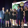 (L-R) American Committee CEO Marshall S. Levin; Lexi, Ashley, Emily, Jeffrey, and Lisa Aronin; and Ilyce Glink.
