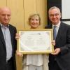 L to R: Prof. Daniel Zajfman, Dr. Daniela di Segni of the Lombroso Foundation, and Dr. Baselga