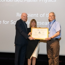 L to R: Prof. Daniel Zajfman, Rebecca Boukhris, and Prof. Eli Zeldov