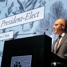Prof. Alon Chen, incoming Weizmann Institute President, speaking to the International Board, November 11, 2019