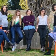 Seven special women in science: L-R: Yael Gropper, Eden Yifrach, Michal Shavit, Gil Schwarts, Gil Goffer, Adi Millman, and Rosalie Lipsh