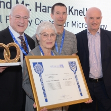 Inaugurating the Knell Center, L-R: Harvey and Dr. Ellen Knell, Prof. Rotem Sorek, Prof. Daniel Zajfman