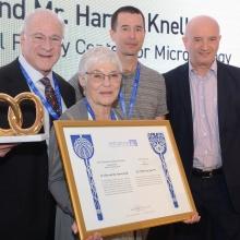 Inaugurating the Knell Center, L-R: Harvey and Dr. Ellen Knell, Prof. Rotem Sorek, Prof. Daniel Zajfman