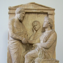 Funerary stele of Thrasea and Euandria. Marble, ca. 375-350. Wikimedia Commons - Marcus Cyron
