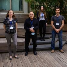L to R: Omer Goldman, Hila Tishler, Prof. Avigdor Scherz, Hadas Lewinsky, Akhiad Bercovich, Reut Riff, Prof. Yossi Yarden