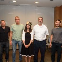 L to R: Prof. Ido Amit, Prof. Eran Segal, Naomi Esses, Prof. David Tannor, Noam Bar, and Yonatan Katzenelenbogen.