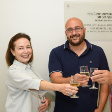 Ilana and Pascal Mantoux with Prof. Jacob Hanna (center), raising a toast to a decade since the establishment of Hanna's lab in the Mantouxs' name.