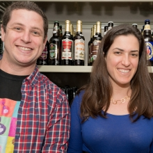 "L-to R: Feinberg Graduate School students Uri Weill, Vered Shacham-Silverberg, and Adi Goldenzweig at City Swiggers in New York City for a ""Science on Tap"" event."
