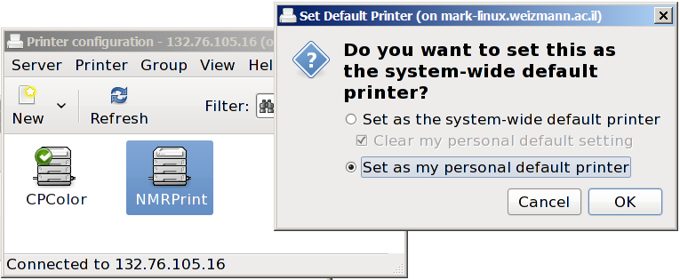 Setting printers | Department of Chemical & Biological Physics
