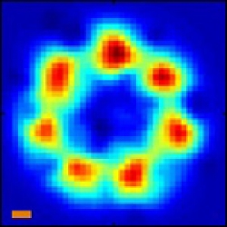 Sub-diffraction limited image of emitters on a circle
