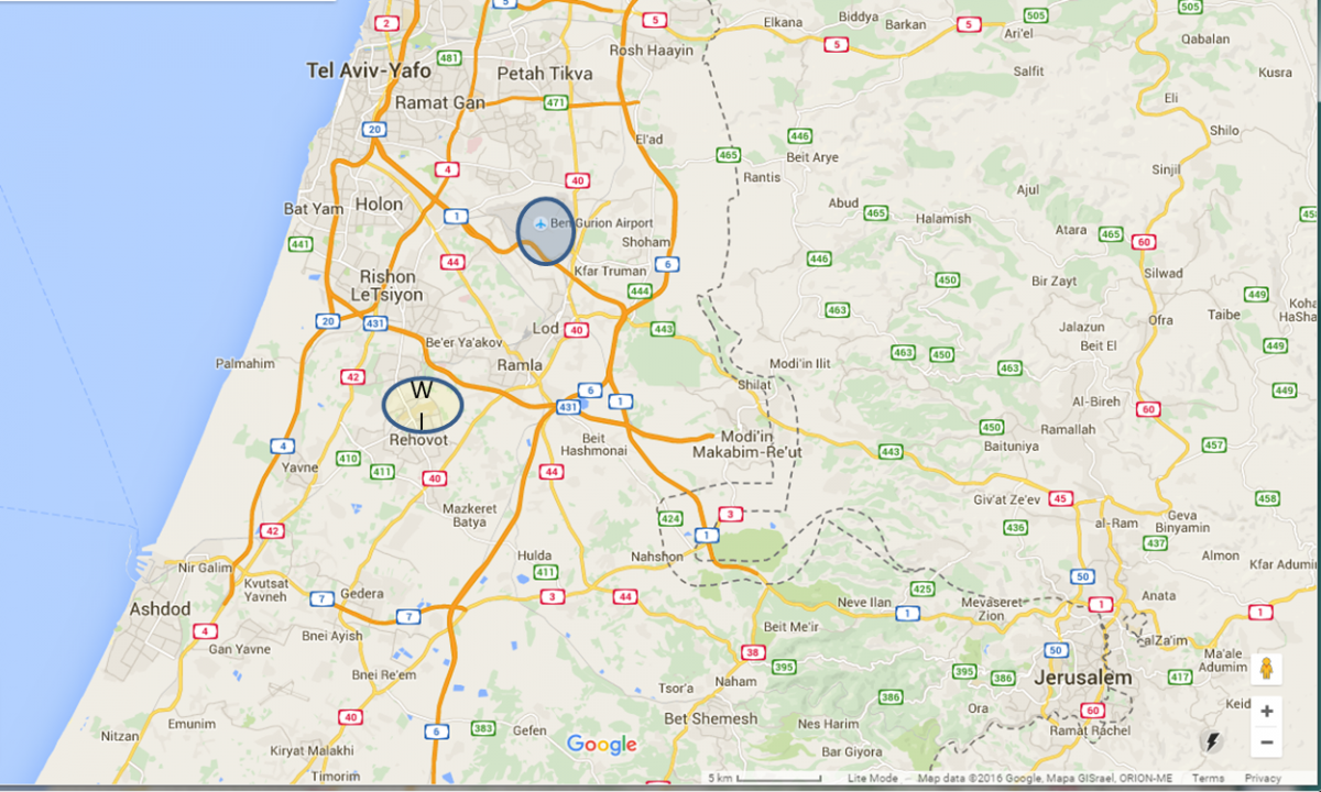 Map of the area, Weizmann Institute of Science and Ben Gurion Airport