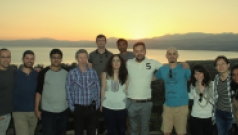 Group photo from departmental retreat in the north, sea of Galilee in the background - April 2017