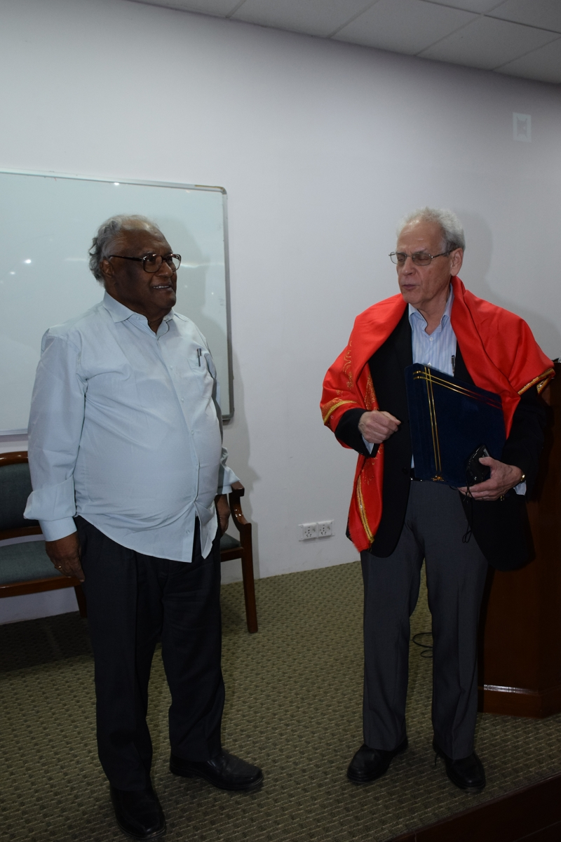 Congratulated by Prof. CNR Rao after the ceremony