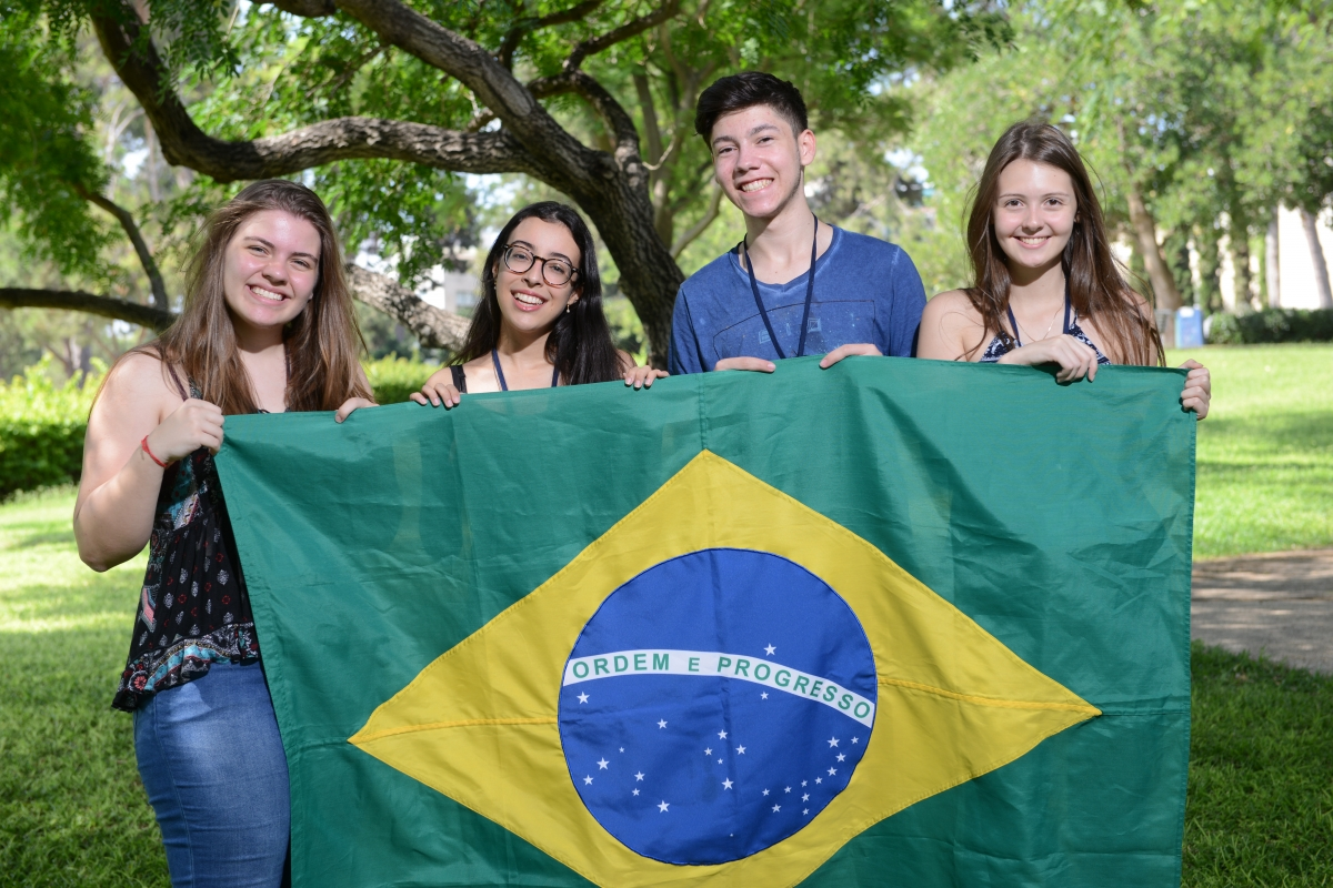 Brazilian students at the Dr. Bessie Lawrence International Summer Science Institute (ISSI) in 2018. From left to right: Carolina Padilha, Luiza Coutinho, Gean de Oliveira da Silva and Maria Valoto