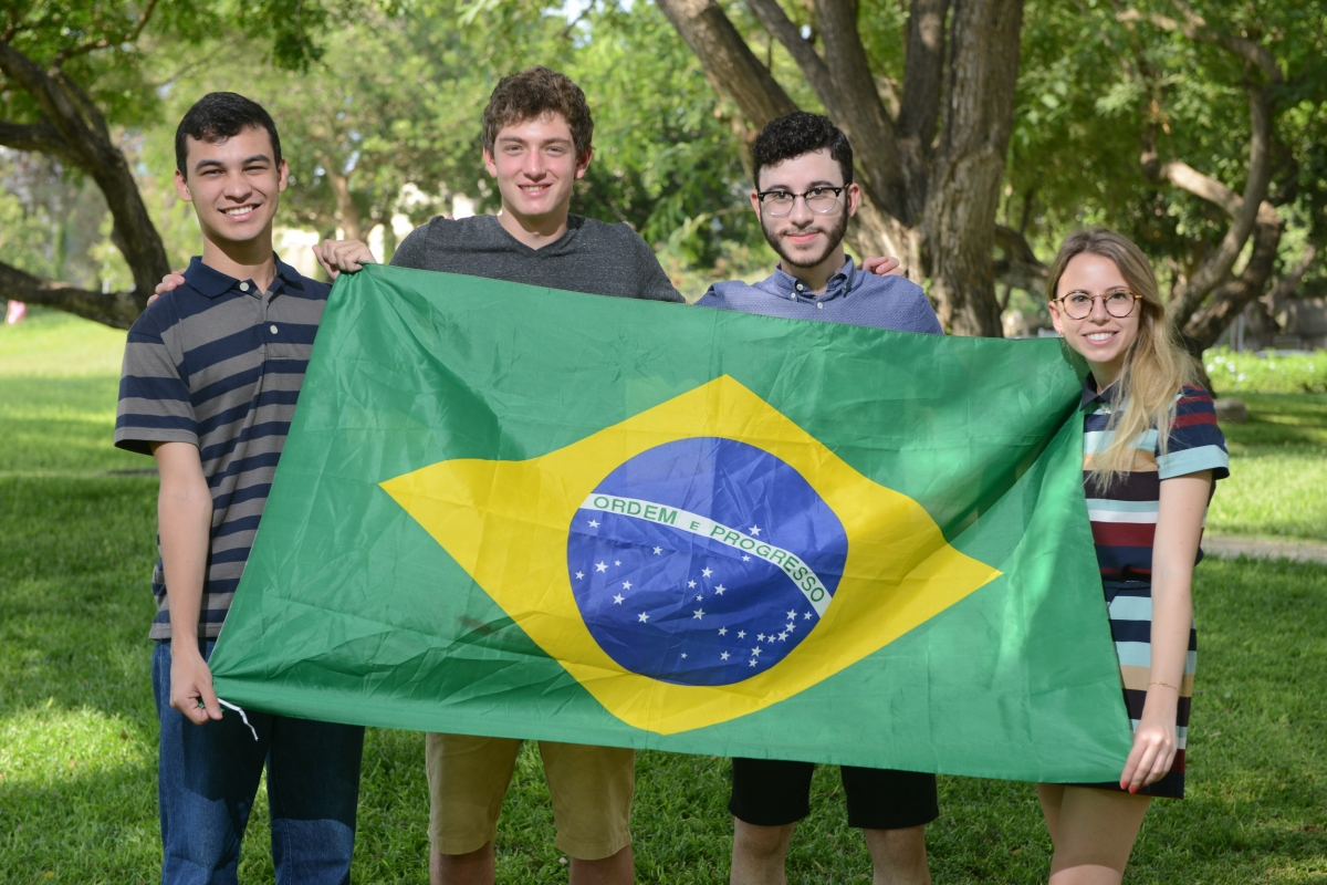 Brazilian students at the Dr. Bessie Lawrence International Summer Science Institute (ISSI) in 2016. From left to right: Rafael Carlos, Eric Halpern, Gabriel Souza and Vitória Müller Gerst
