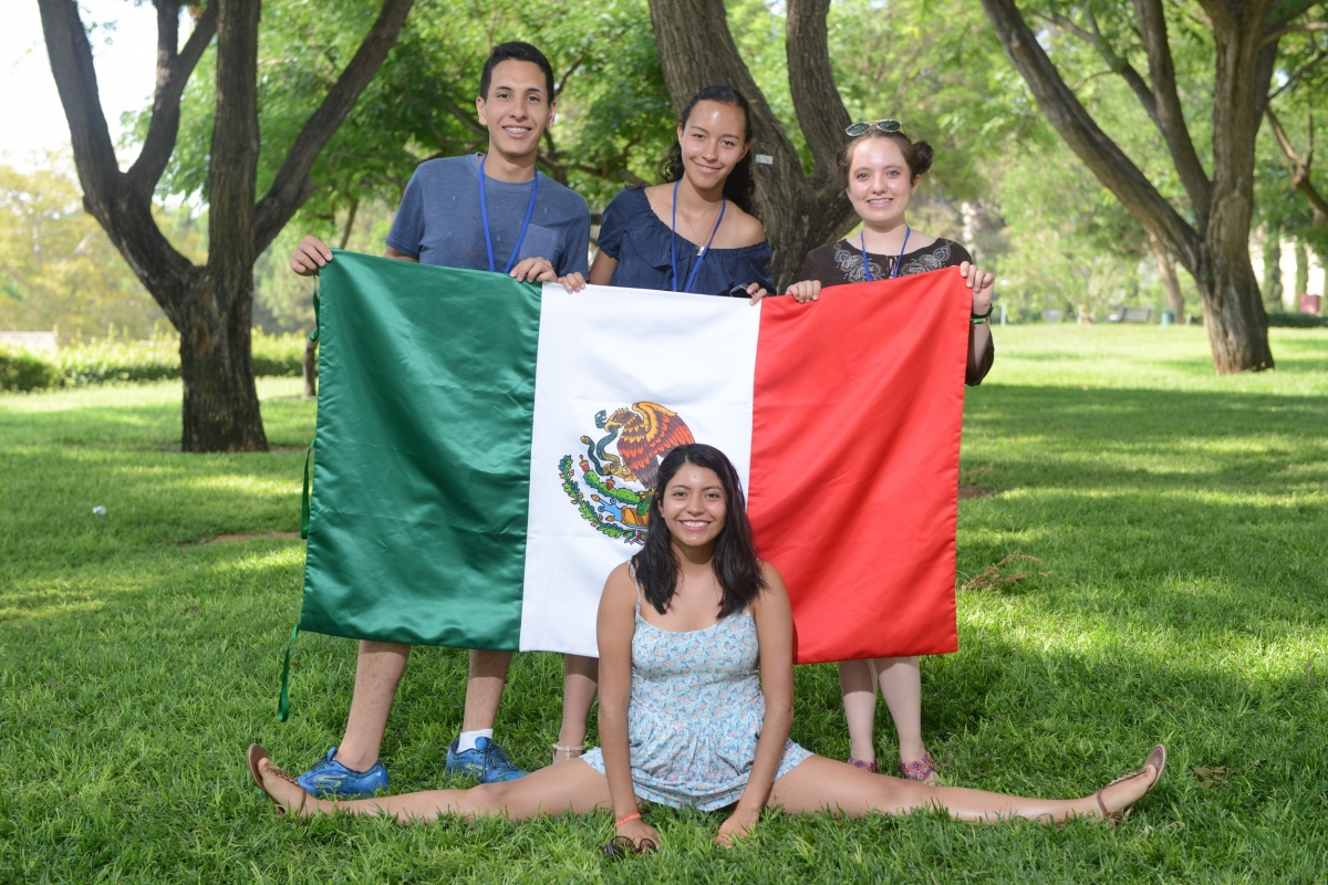L to R: Mexican students at the Dr. Bessie Lawrence International Science School: Jose Guillermo Gutiérrez Sánchez, Astrid Alicia Vela Plata, Grecia Alejandra Garcia León and (on the ground) Abril Diosdado Hernández.