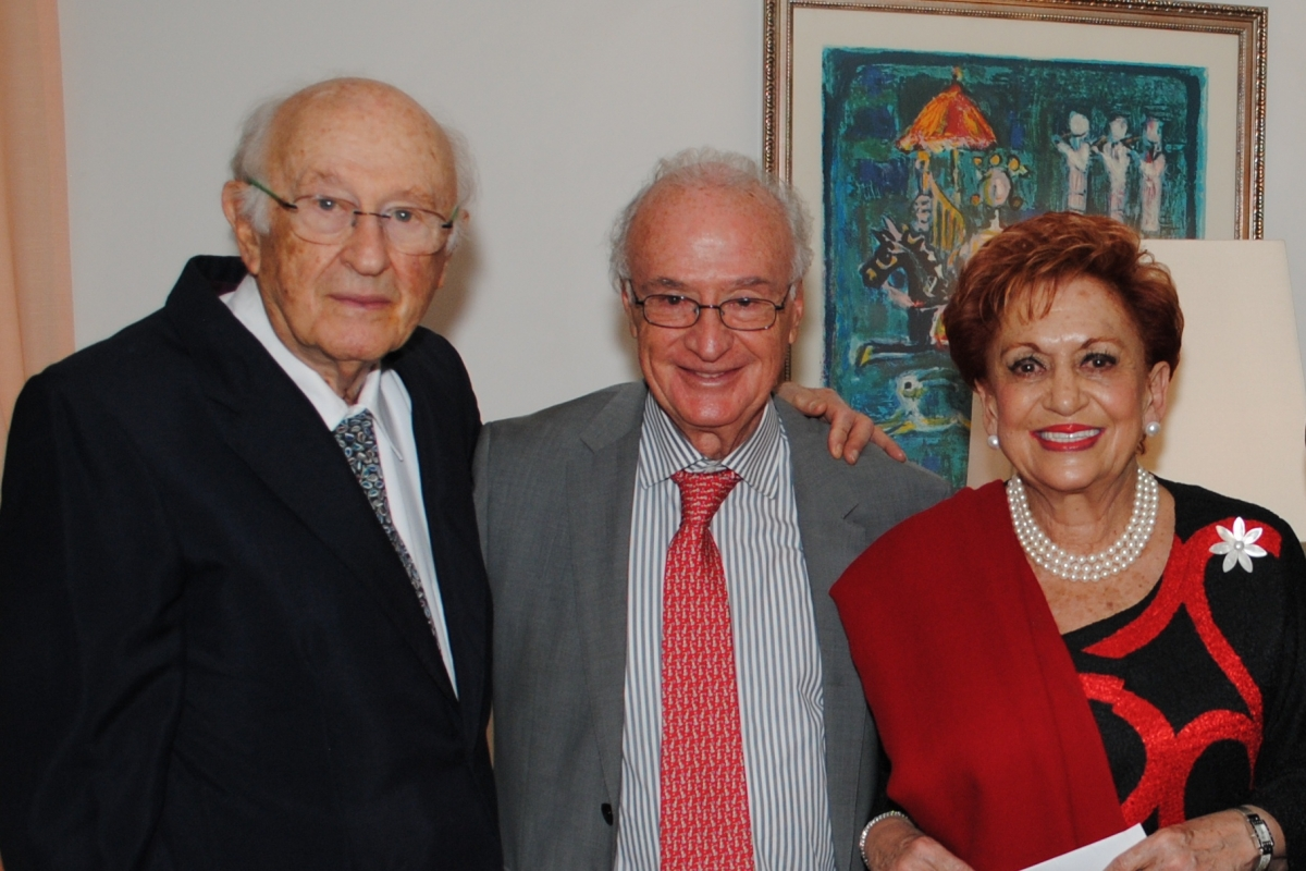 Mr. Luis Stillman, Mr. Rolando Uziel, and President of the Mexican Association of Friends, Mrs. Martha Flisser, in an event organized at the house of Israel's ambassador to Mexico, November 2015.